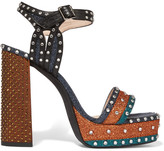 Lanvin Embellished Glittered Leather Platform Sandals - Blue