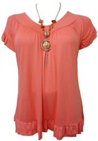 Xclusive Collection New Women Plus Size Necklace Gypsy Tops Womens Tunic Short Sleeve Tops (22/24, )