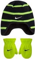 Nike Toddler Boy Striped Fleece Trapper Beanie & Mittens Set