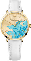 Juicy Couture Women's LA Ultra Slim White Leather Strap Watch 35mm 1901457