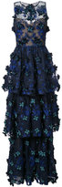 Marchesa floral applique layered gown - women - Nylon/Polyester - 0