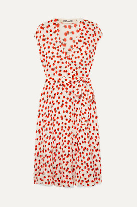 Diane von Furstenberg Goldie Floral-print Crepe Wrap Dress - Red