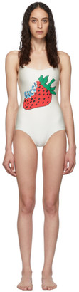 Gucci Off-White Strawberry One-Piece Swimsuit