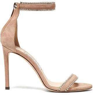 Jimmy Choo Dochas 100 Crystal Strap Suede Sandals - Womens - Nude