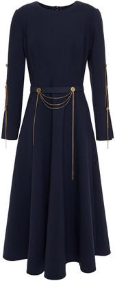 Oscar de la Renta Belted Embellished Wool-blend Crepe Midi Dress