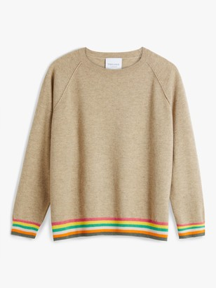 Trilogy Cashmere Stripe Hem Jumper, Light Organic Brown
