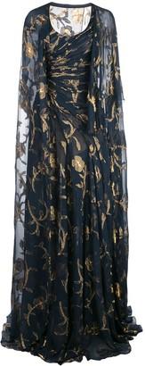 Oscar de la Renta Lurex Fil Coupe Gown