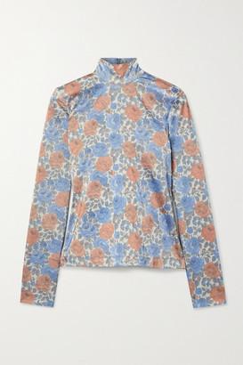 Marques Almeida Floral-print Satin-jersey Turtleneck Top - Gray