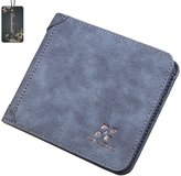 Donalworld Men's Retro Frosted PU Leather Thin Short Purse Wallet