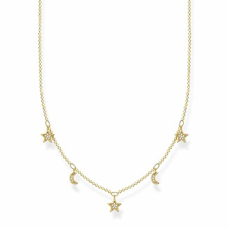 Thomas Sabo 925 Sterling Silver Gold Moon & Stars Necklace of Length 40-45cm