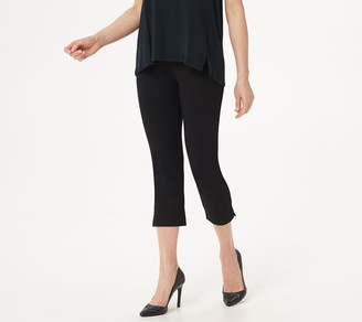 H by Halston Petite Ultra Knit Slim-Leg Crop Pants with Side Slits