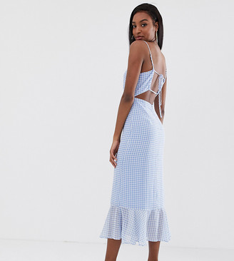Fashion Union Tall cami midi dress with peplum hem and lace up back in gingham-Blue