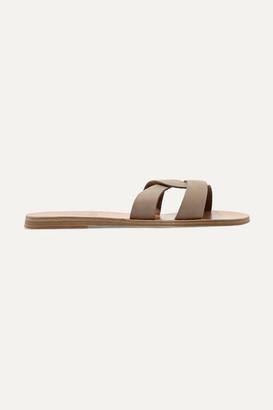 Ancient Greek Sandals Desmos Cutout Nubuck Slides - Taupe
