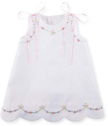 Luli & Me Pique Dress w/ Floral Embroidery, Size 3-18 Months