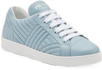 Prada Quilted Leather Lace-Up Sneakers