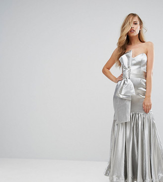 Fame & Partners Fitted Maxi Dress with Tie Front Detail-Silver