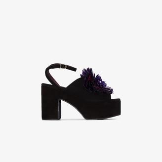 Dries Van Noten Purple 60 Flower Suede Platform Sandals
