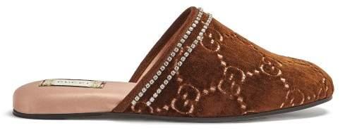 Gucci Gg Crystal Embellished Velvet Slipper Shoes - Womens - Brown