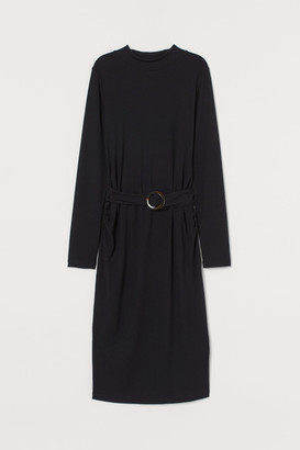 H&M MAMA Ribbed Jersey Dress - Black