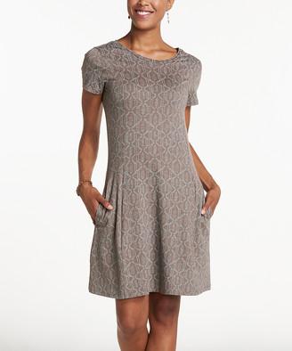 Toad&Co Women's Casual Dresses Falcon - Falcon Brown Batik Dot Windmere Dress - Women