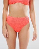 Asos Diamond Textured High Leg Bikini Bottom