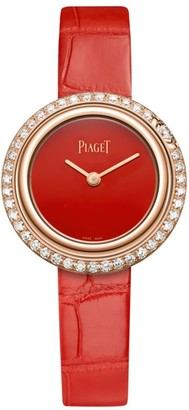 Piaget Possession 18K Rose Gold & Diamond Pave Alligator Strap Watch