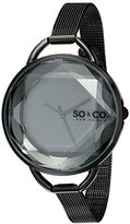SO&CO New York Women's 5104.3 SoHo Quartz Black Dial with Faceted Glass and Stainless Steel Mesh Bracelet Watch