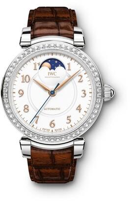 IWC SCHAFFHAUSEN Stainless Steel and Diamond Da Vinci Automatic Moon Phase Watch 36mm
