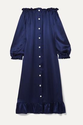 Sleeper Off-the-shoulder Ruffled Silk-satin Midi Dress - Navy