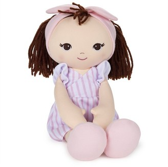 Gund Toddler Plush Brunette Doll with a Pink Striped Dress 8""