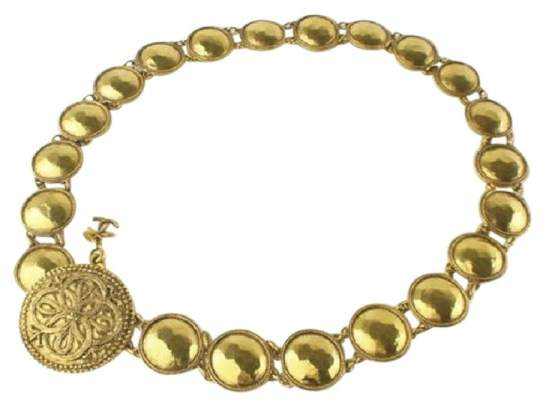 Chanel Gold Tone Hardware Medallion Necklace