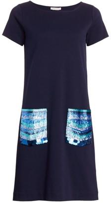 Joan Vass Petite Sequin-Pocket Cotton Shift Dress