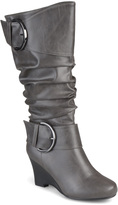 Journee Collection Gray Meme Wide-Calf Boot