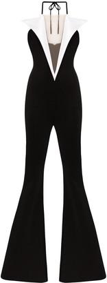 Balmain two-tone flared jumpsuit