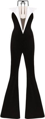 Balmain Two-Tone Flared Jumpsuit