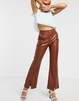 GHOSPELL tailored flared trousers in faux leather