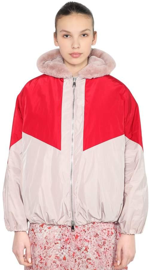 Giamba Oversized Nylon & Faux Fur Bomber Jacket