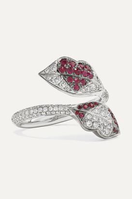 Ofira Kiss Me 18-karat White Gold, Diamond And Ruby Ring - 7
