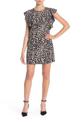 Laundry by Shelli Segal Leopard Print Ruffle Sleeve Dress (Petite)