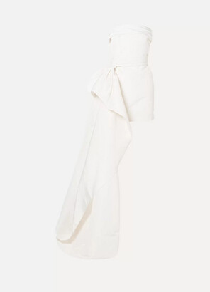 Reem Acra Asymmetric Draped Silk-faille Mini Dress - Ivory