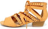Qupid Hope and Wish Camel Lace-Up Sandals