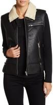 Walter Baker Genuine Leather Faux Shearling Sleeveless Vest