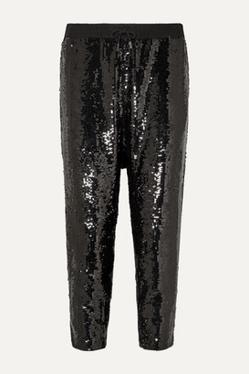 Nili Lotan Delancy Cropped Sequined Crepe Track Pants - Black