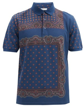Etro Paisley-print Cotton-pique Polo Shirt - Blue Multi