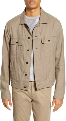 Vince Slim Fit Linen & Cotton Trucker Jacket