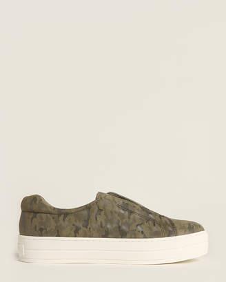 J/Slides Green Heidi Camo Leather Platform Sneakers