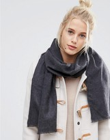 Johnstons of Elgin Merino Wool Woven Scarf in Charcoal