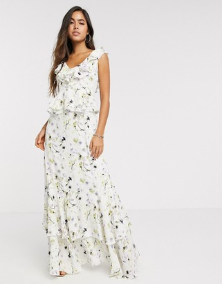 Forever U Collection satin ruffle maxi dress in soft floral