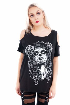 Ro Rox Day of The Dead Dia Los Muertos Gothic Cold Shoulder Top T-Shirt - (M) Black