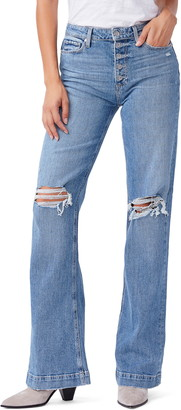 Paige Vintage Leenah High Waist Ripped Flare Leg Jeans